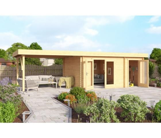 Gartenhaus LINDA28 440x300 cm + 400 cm Schleppdach; 28 mm