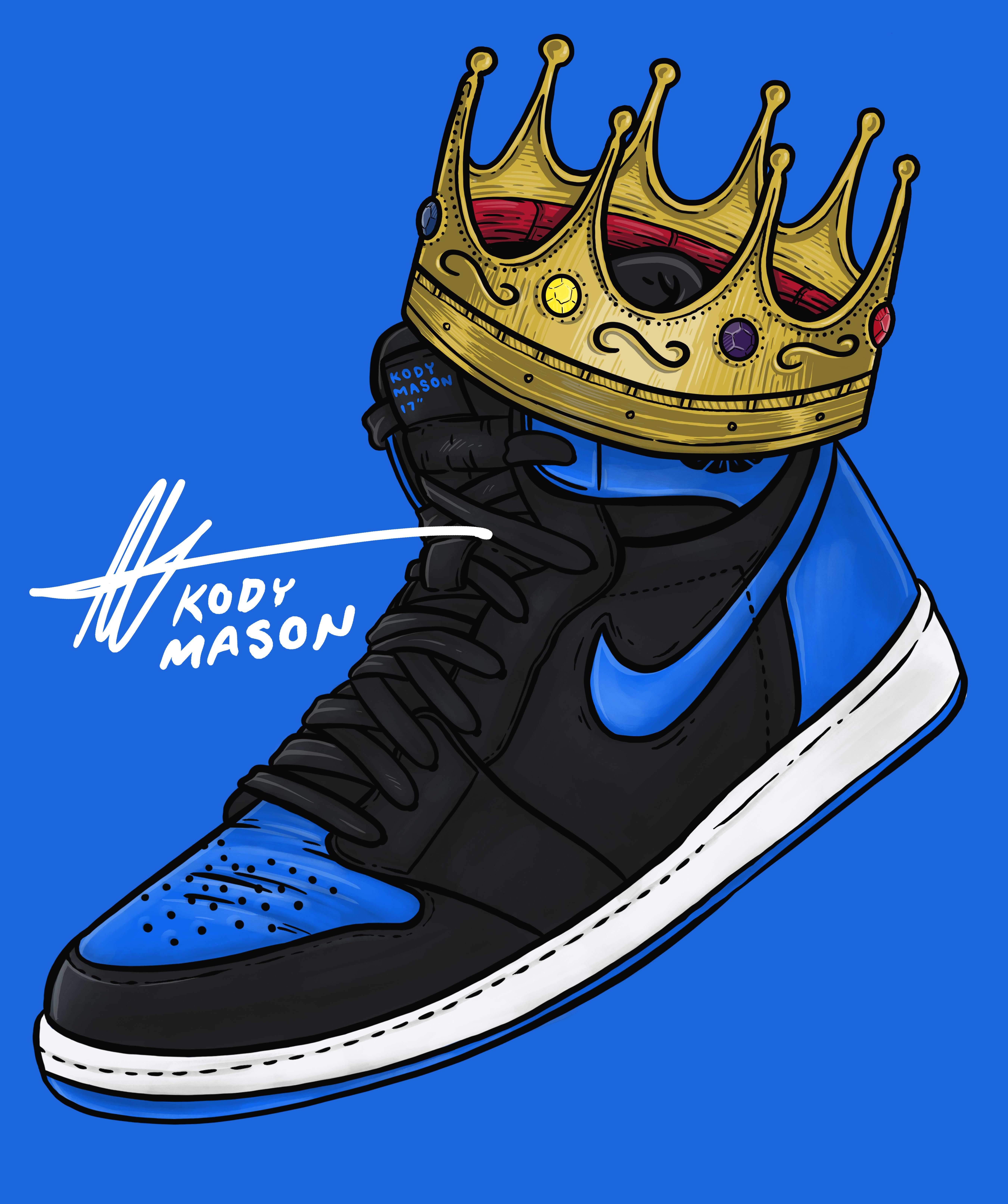 Sneaker Art Jordan Royal 1 Royal Blue By Kody