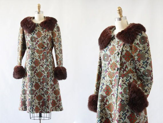 The Big Chill Vintage 60 S Tapestry Carpet Coat 1960s Rabbit Fur Collar And Cuffed Midbrooke Medium Couture Fashion Trending Outfits Long Sleeve Dress