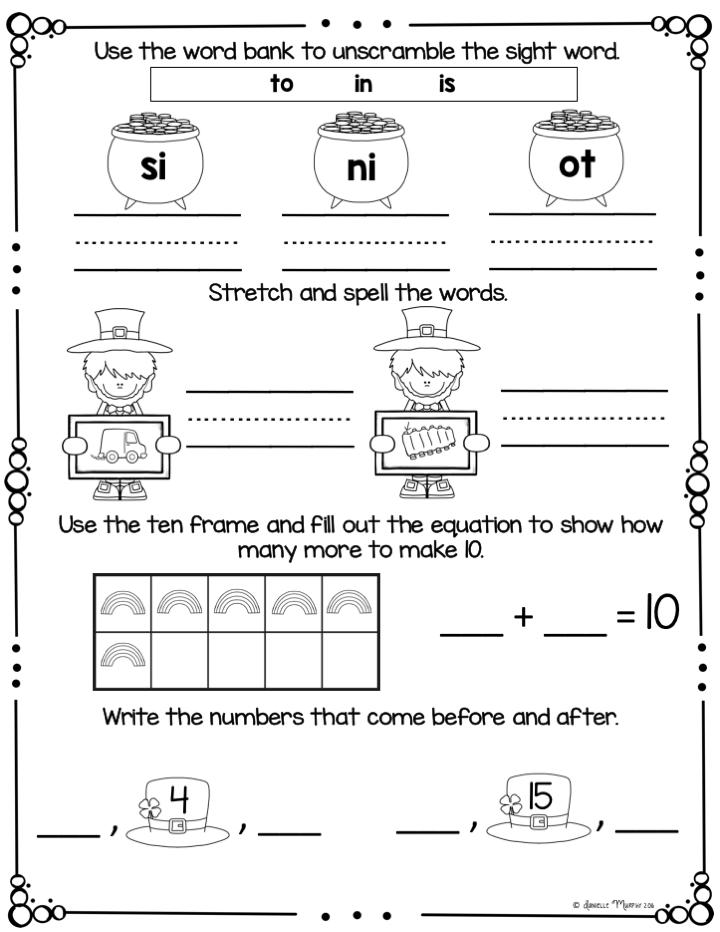 March NO PREP Kindergarten Morning Work   Kindergarten morning ...