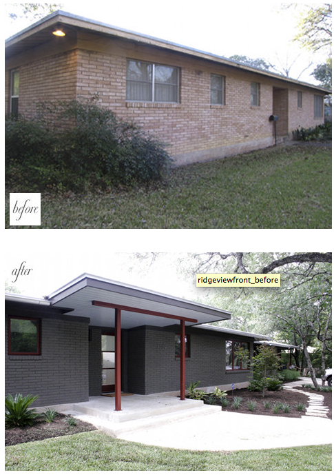 Painted Brick Modern Awning Home Exterior Makeover Brick