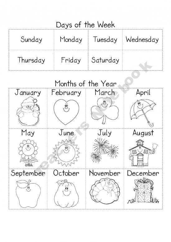 Days Of The Week And Months Of The Year Reference Sheet Clase De Ingles Actividades Infantiles Fichas