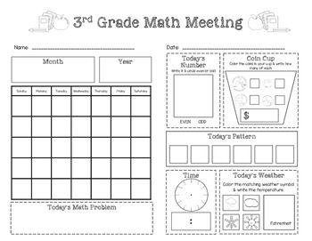 Saxon Math Meeting Worksheet (Grade 3) FREEBIE! Visit www