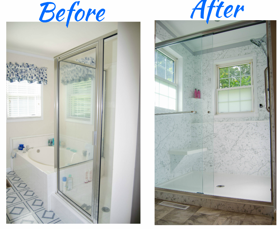 Complete bathroom remodel tub to shower conversion for Bathroom remodelers in my area