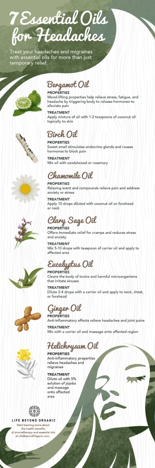 infographic | 7 essential oils for headaches #headacheinfographic