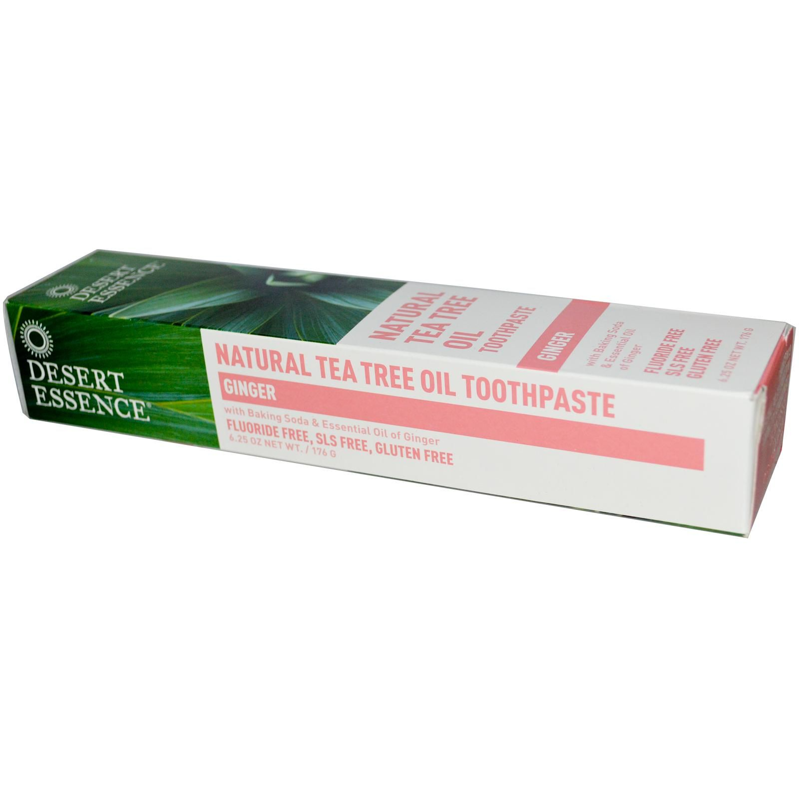 Desert Essence, Natural Tea Tree Oil Toothpaste, Ginger, 6.25 oz (176 g) - iHerb.com
