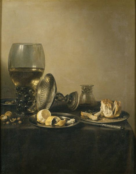 """""""Still life with Romer cup, silver tazza and small bread"""" by Pieter Claesz (1597/98-1660)"""