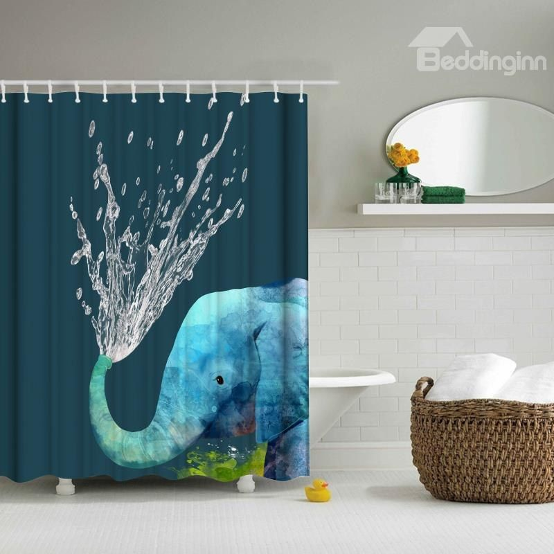 3D Mouldproof Water-Spraying Elephant Printed Polyester Blue ...