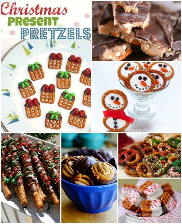 Christmas Pretzels ~  >Christmas Present Pretzels >Christmas Pretzel Rods >Frosty Snowman Pretzels >Christmas Pretzels  >Pretzel Toffee & MORE!  Recipe Links @: http://stuffedsuitcase.com/2013/12/christmas-pretzels-holiday-treats/