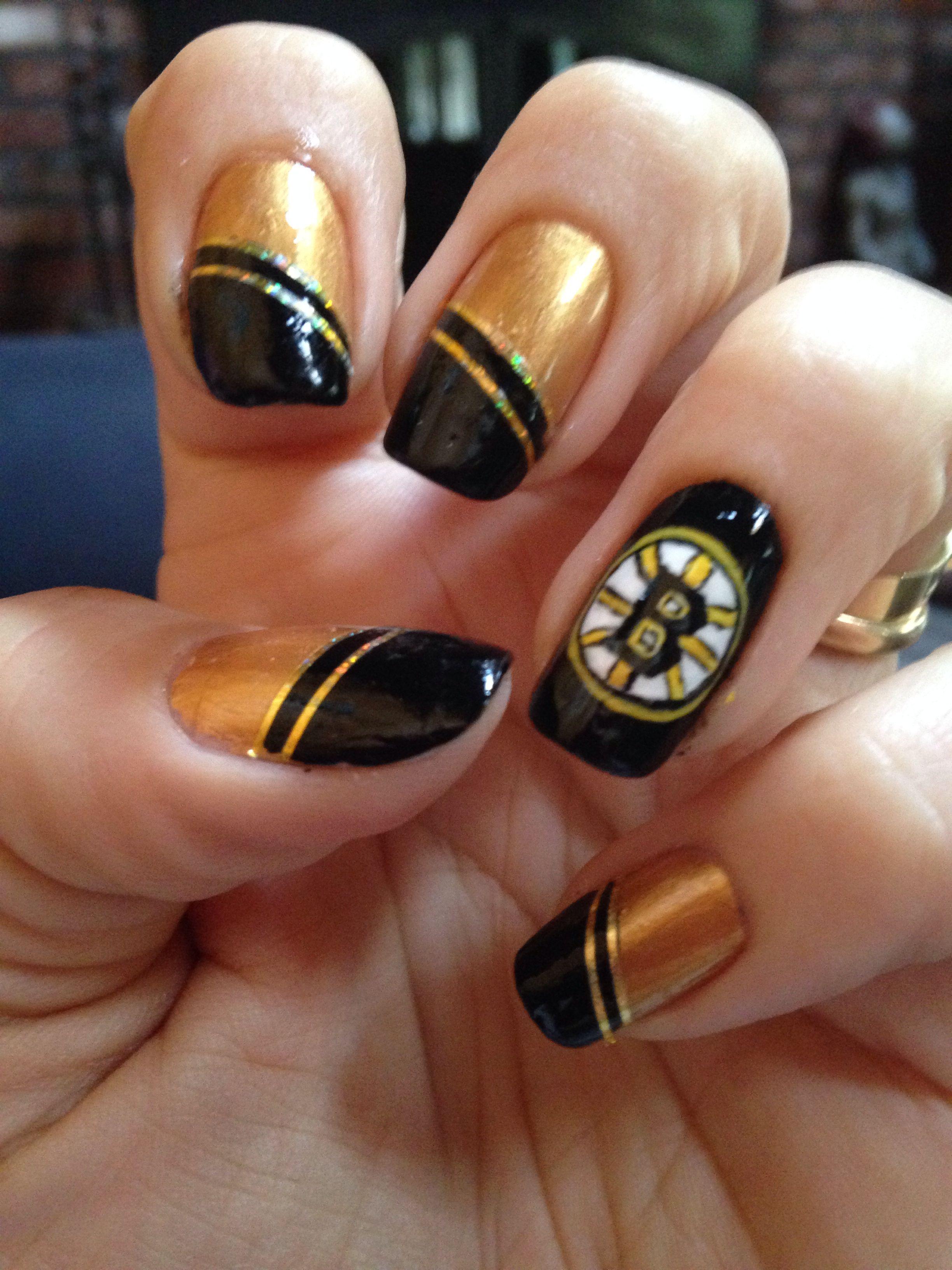 Boston Bruins Nails | Nail art | Pinterest | Fun nails, Gel nail art ...