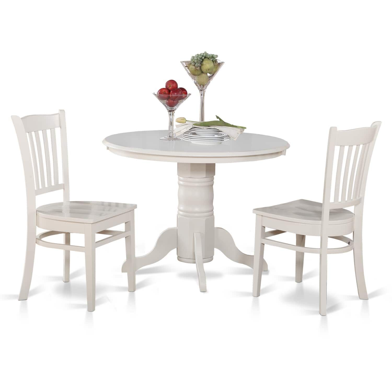 3-piece Small Round Table and 2 Kitchen Chairs (White - White Finish ...