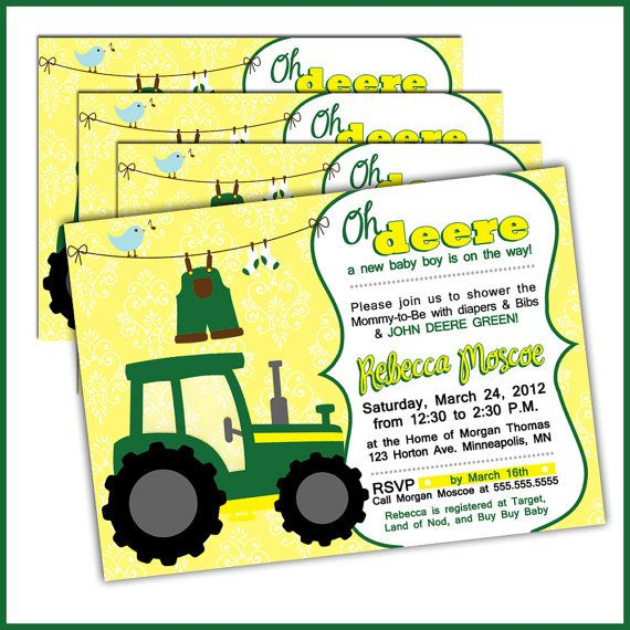 Tractor Baby Shower Invitations In John Deere Green By Lullabyloo