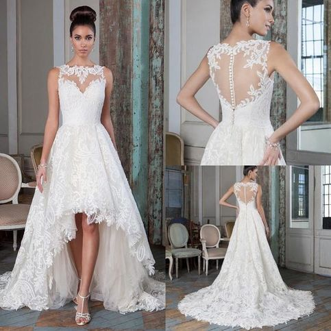 Special High Low Tulle Bridal Dresses,Romantic Brush Train Wedding Dresses,Beautiful Sleeveless Appliques Bridal Gown.704