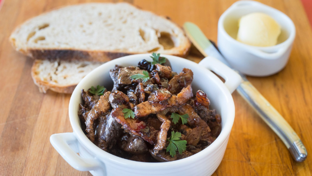 Chicken livers with red wine and bacon AND two more delicious ways to use up chicken bits and pieces, including chicken hearts!