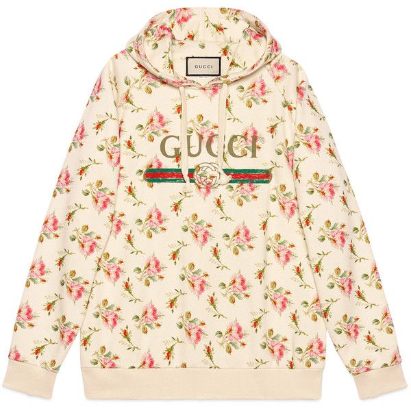 470384e1d56 Gucci Rose Print Hooded Cotton Sweatshirt featuring polyvore women s  fashion clothing tops hoodies ready-to-wear sweatshirts   t-shirts women  oversized ...