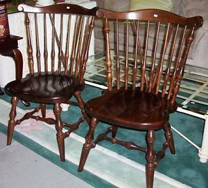 pair vintage ethan allen dark spindle back solid wood dining chairs vgc