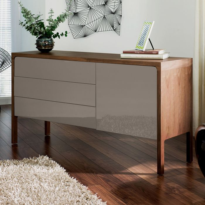 Portofino gloss sideboard stone and walnut | Sideboards ...