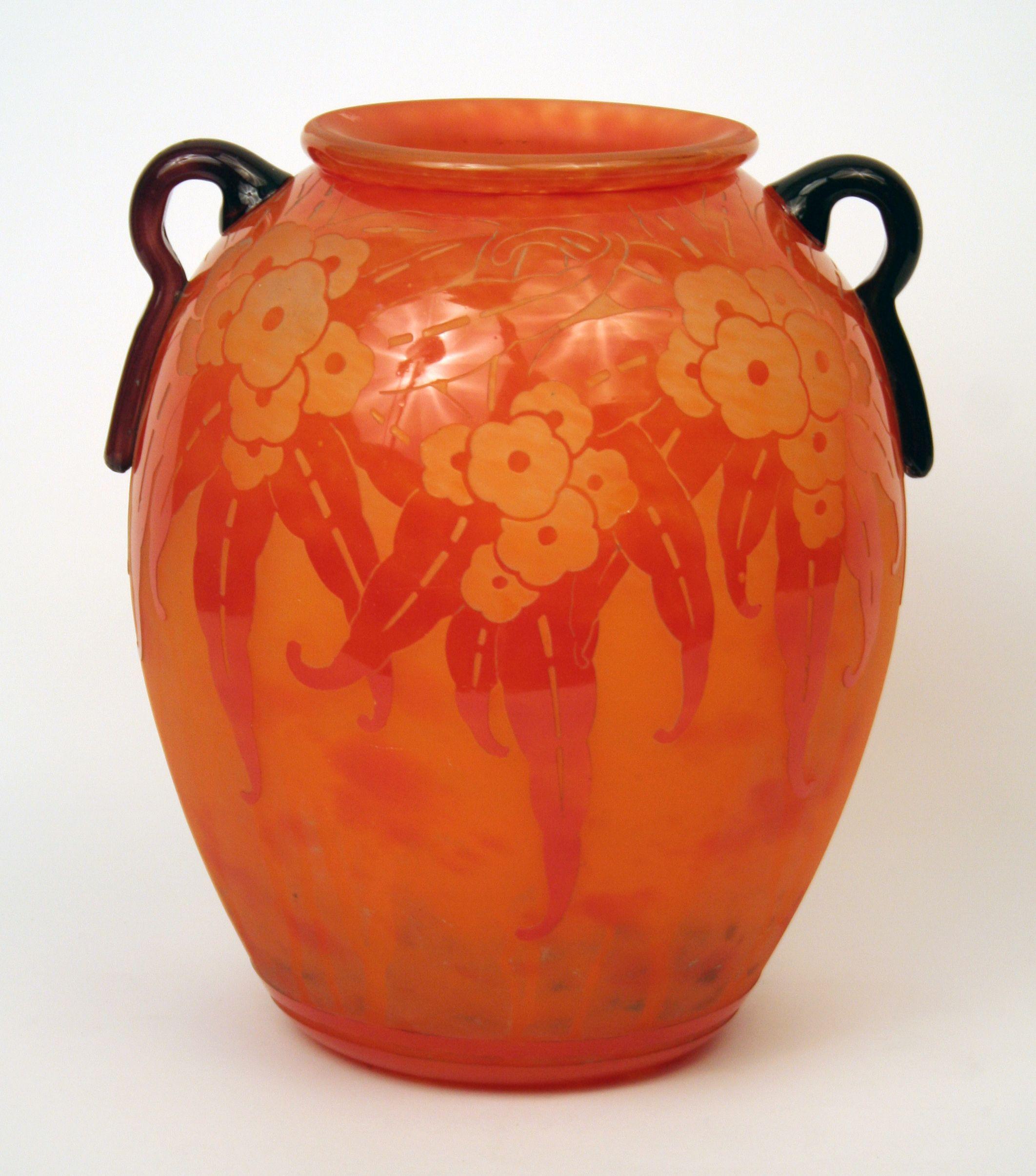 art deco vase by le verre francais schneider france 1930. Black Bedroom Furniture Sets. Home Design Ideas