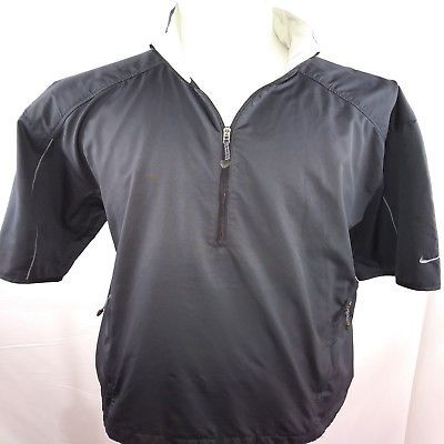 b735ff738cd5 Nike Golf Clima-Fit 1 2 Zip Vented Pullover Windbreaker Rain Jacket Black  Large