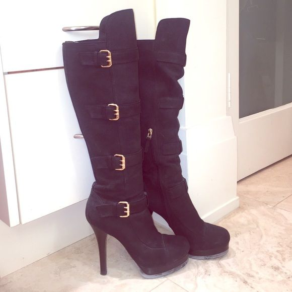 """Black suede Fendi boots Knee high black Fendi suede boots with gold buckles. Rubber sole great for walking and not killing yourself! Platform 1"""", heel height 5"""". 14"""" leg circumference. Beautifully made and in great shape. Soles and heels look fab! Suede looks great. FENDI Shoes Winter & Rain Boots"""