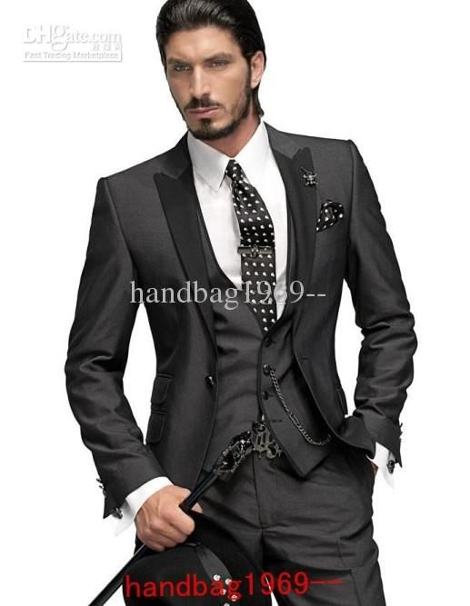 Cheap One Button Slim Fit Groom Tuxedo White/Light Grey Jacket+Pants ...