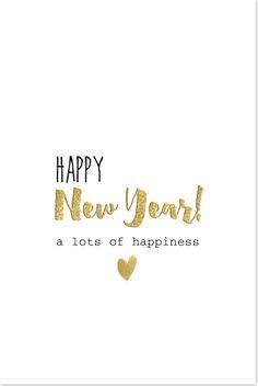 Strakke enkele staande nieuwjaarskaart goud hartje ...