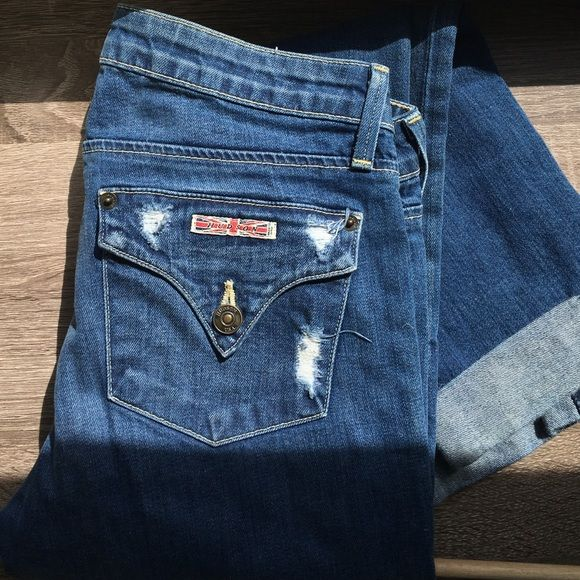 Hudson skinny distressed boyfriend jeans Skinny, lightly distressed denim with boyfriend fit, cuffed hems, and detailed pockets. These are in immaculate shape! Light whiskering and medium wash. Hudson Jeans Jeans Boyfriend