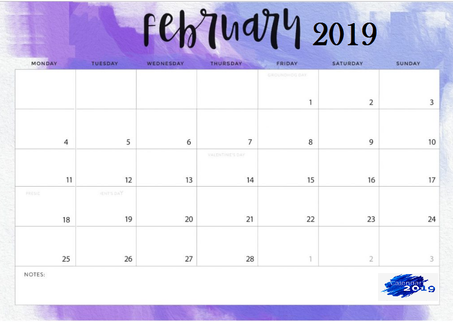 Purple February 2019 Calendar Cute February 2019 Desk Calendar Template #feb #february2019