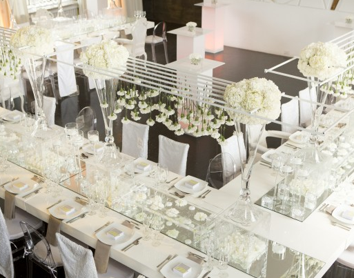 An Out of the Box Evening, Reign Magazine - amazing all white modern  tablescapes