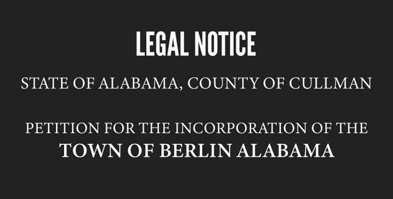 Petition For The Incorporation Of The Town Of Berlin Alabama