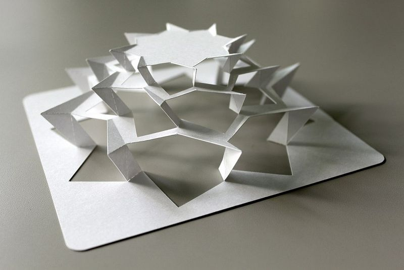 RES Octagon Star Paper Art Sculpture, Origami Paper Art, Paper