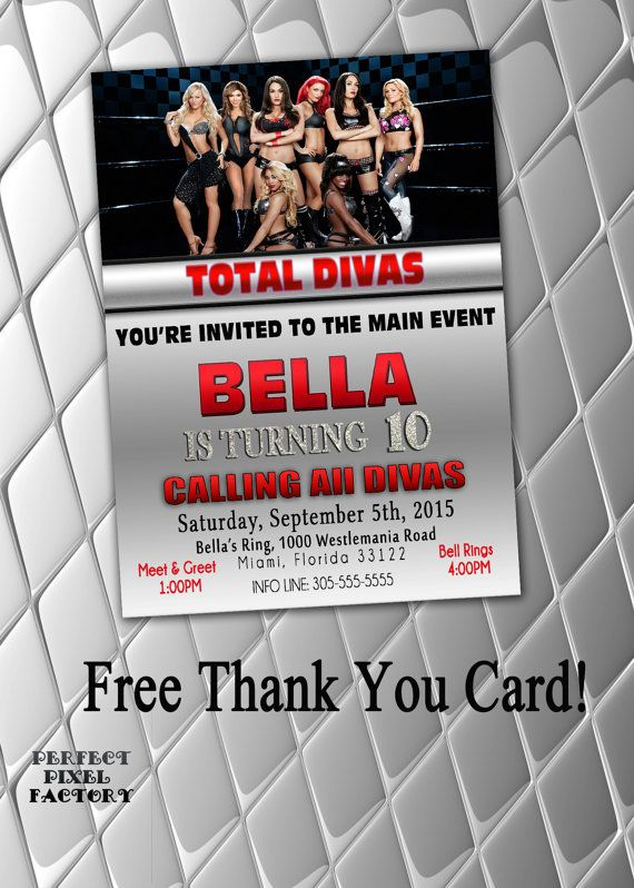 WWE Divas Birthday Party Invites by NikkisInvitations on Etsy – Diva Party Invitations