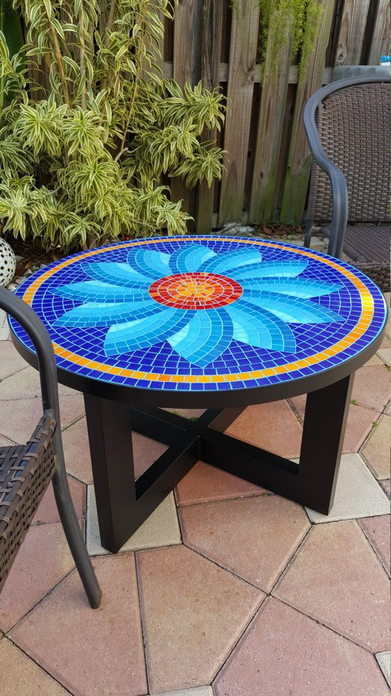 Handmade Table, Glass Tile Top, Aluminum Legs Painted With Powder Coated  High Resistant Paint, Steel Rimmed Table Top, Indoor And Outdoor Use, ...