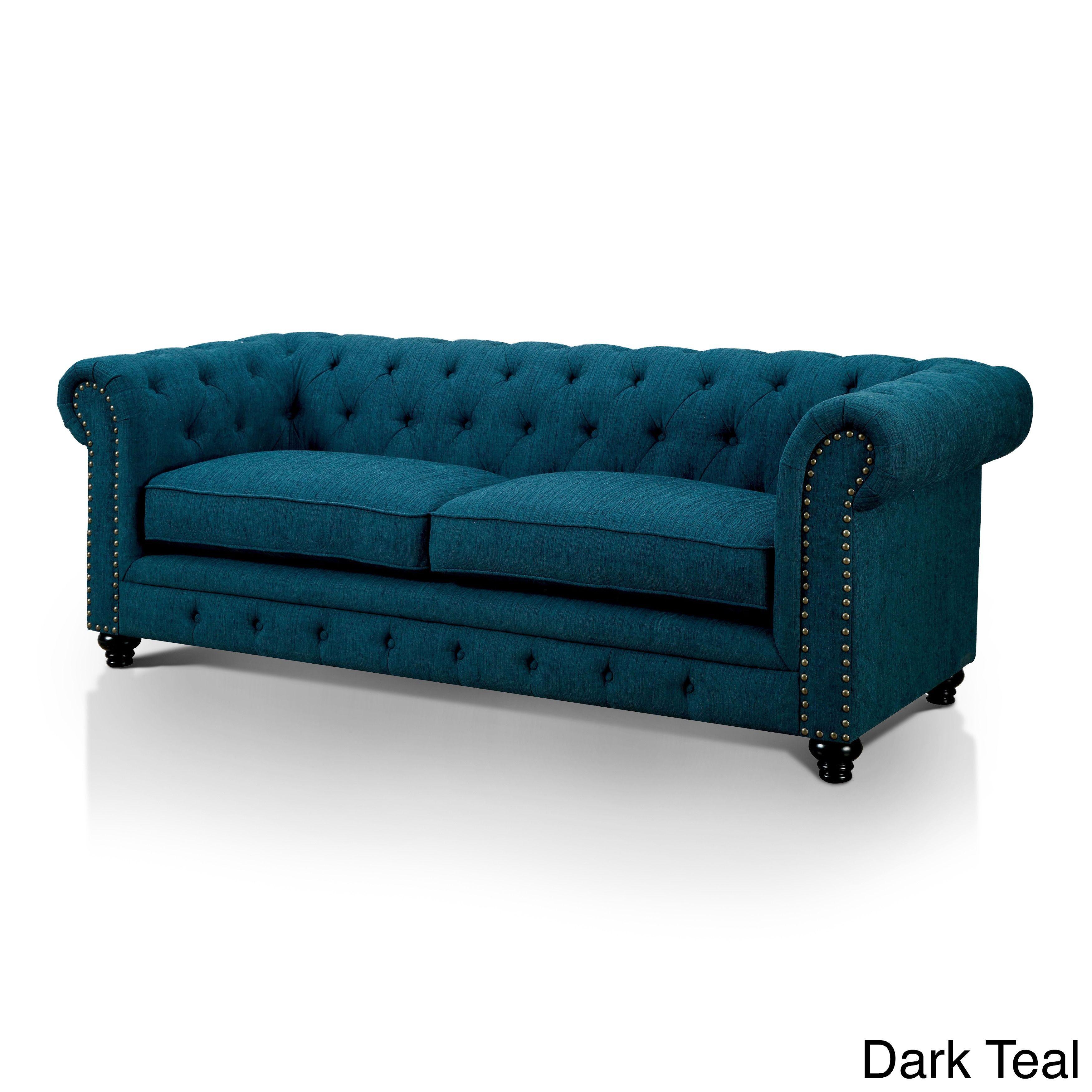 Furniture Of America Staffers Traditional Deep Tufted Tuxedo Style Sofa  (Dark Teal Fabric),