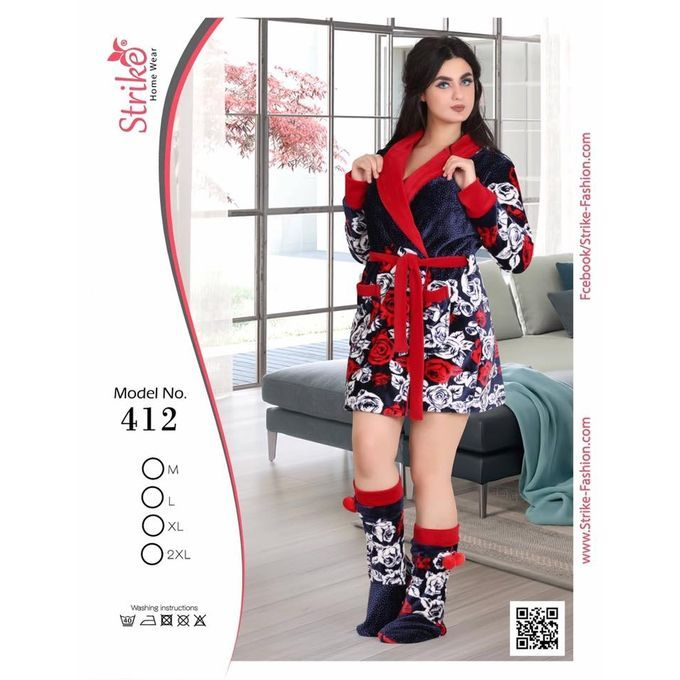 اشتري Generic روب شتوى قصير كحلى و ابيض اون لاين جوميا مصر Short Robe Floral Skirt Fashion