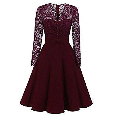 vintage damen kleider ulanda damen lange Ärmel abendkleid mit spitzen retro knielang elegant