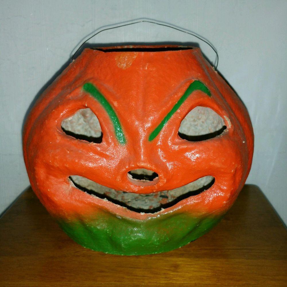 Vintage halloween paper decorations - Vintage 1940s Paper Mache Large Halloween Jack O Lantern Pumpkin Nice
