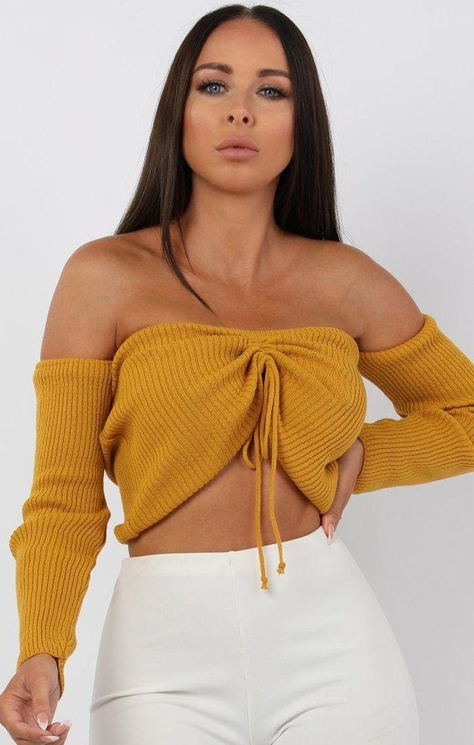 956ddbefd52 Bardot, Summer Wardrobe, Mustard, Knitwear, Jumper, Crop Tops, Mustard Plant
