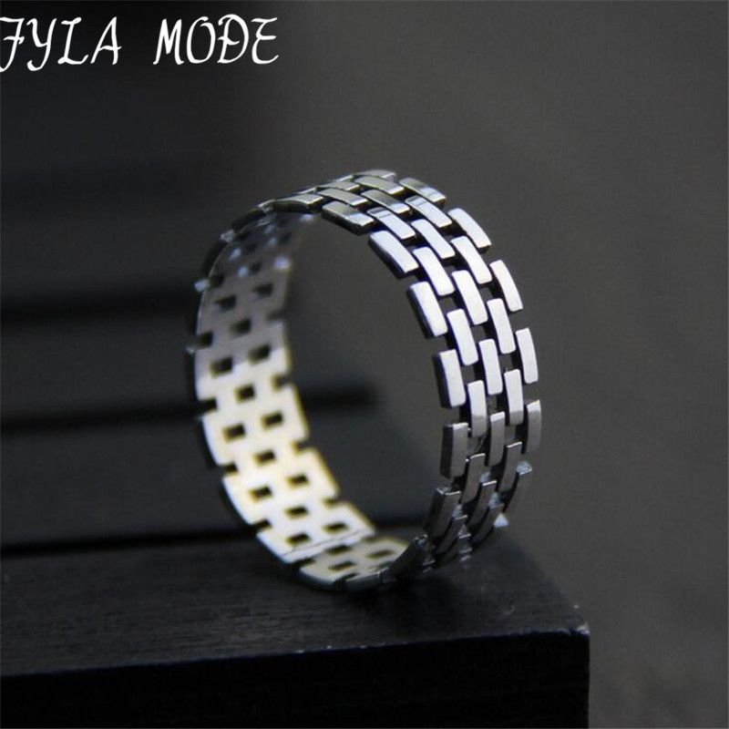 Fyla Mode Euramerican S925 Silver Watch Band Pattern Ring Casual ...