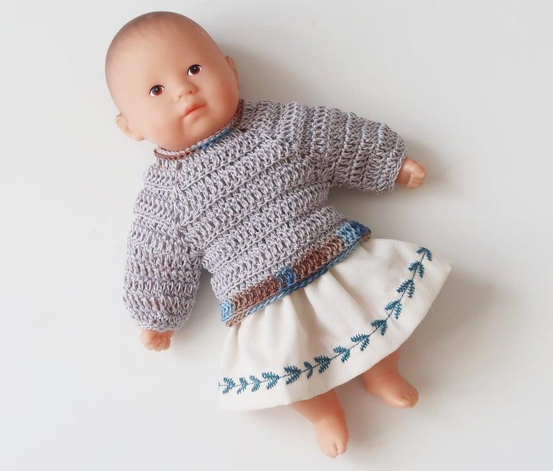 Vêtement de poupon, cadeau enfant, habits Corolle, mini câlin, anniversaire fille, corolle 20 cm, pull, jupe