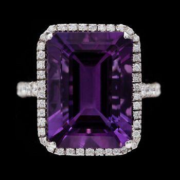 RING, ametist, 13.48 ct samt briljantslipade diamanter, 0.58 ct. - Bukowskis