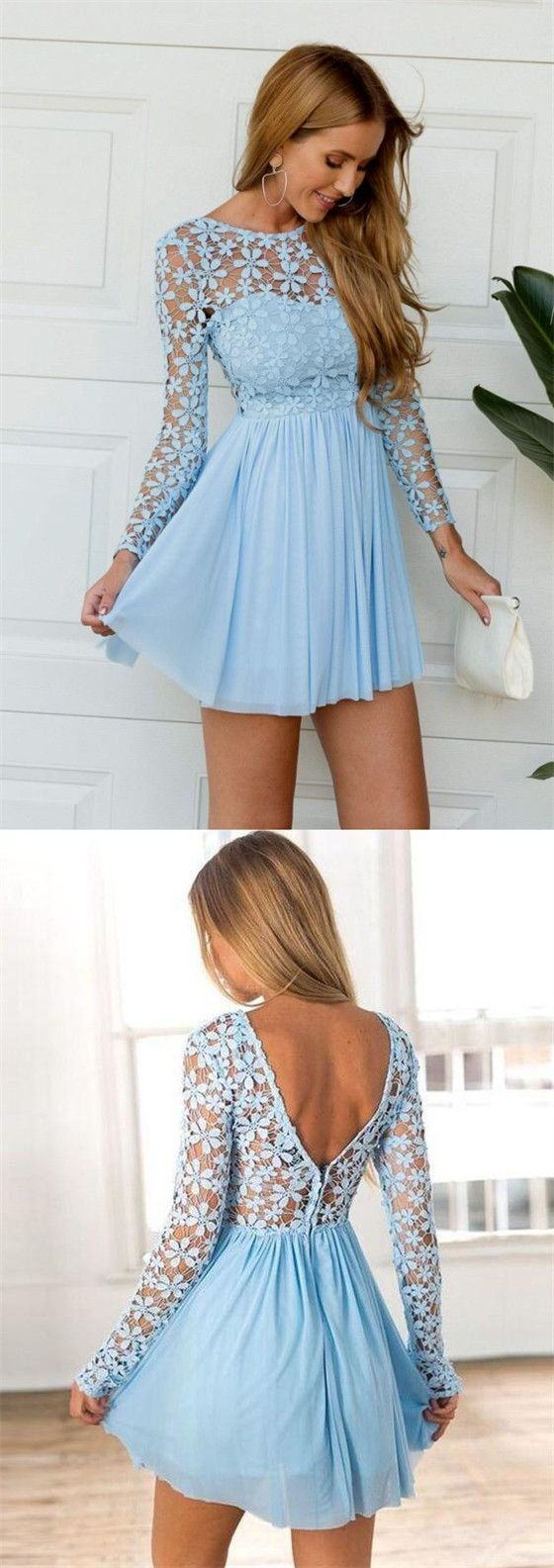 Charming Blue Illusion Lace Top See Through Long Sleeves A-Line Short Homecoming Dresses #schooldancedresses