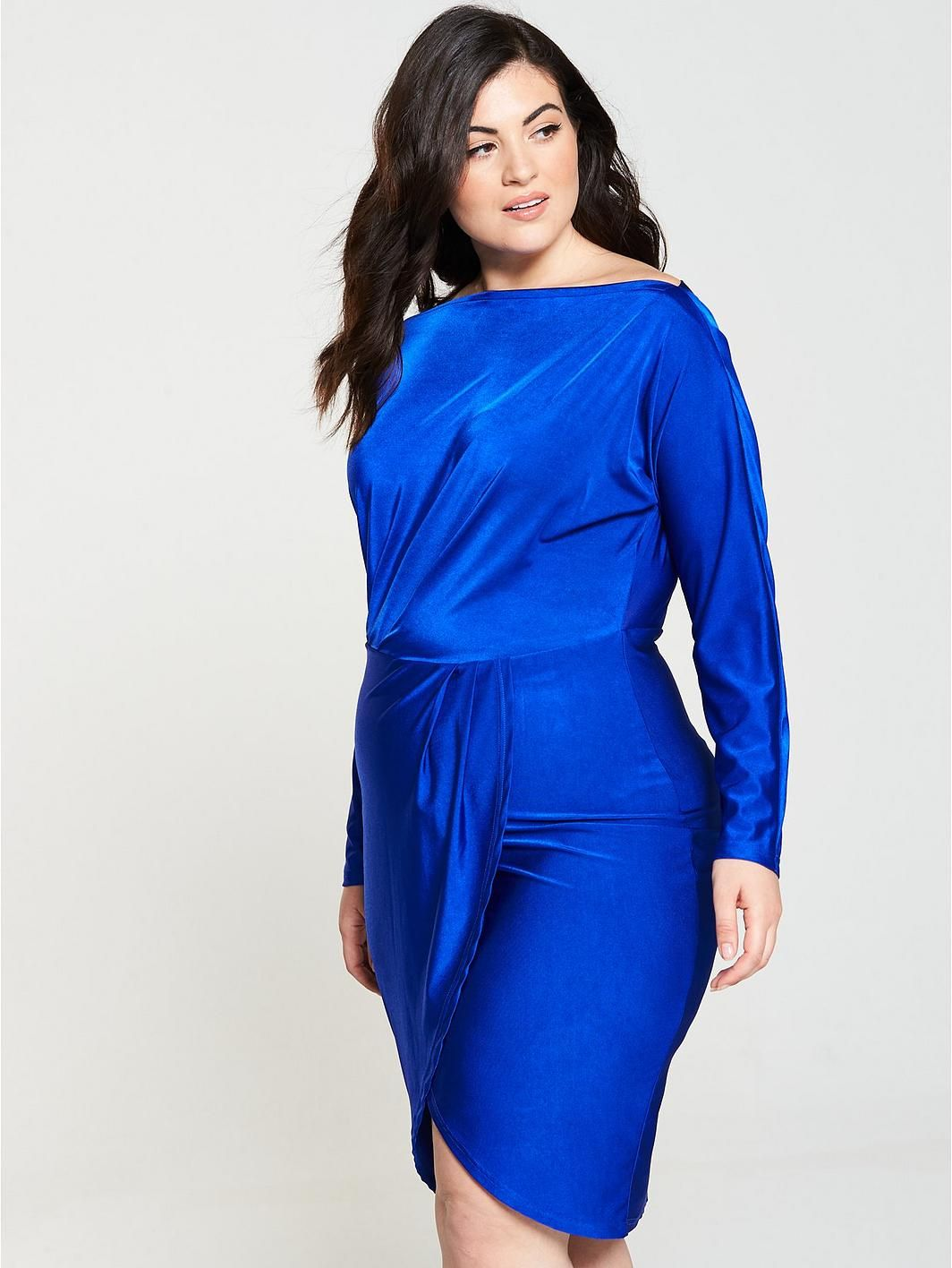 e3c55f4a574 AX PARIS CURVE Slinky Off Shoulder Bodycon Midi Dress - Cobalt Blue ...