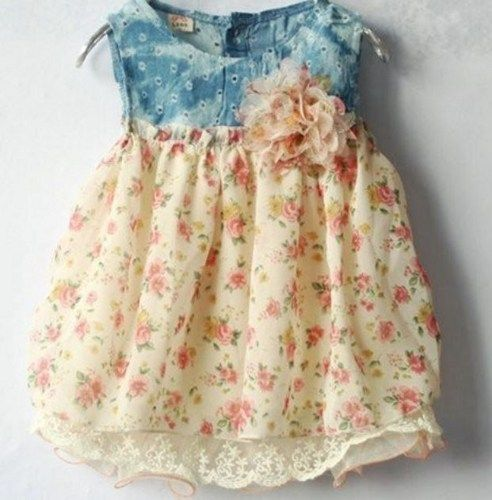 Ready for Shipping Denim Dress Floral Summer Girls Peach Color