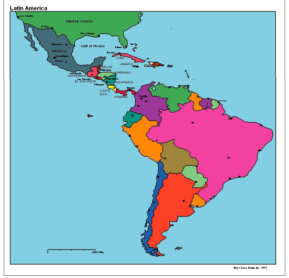 Latin America Map | Latin America | Latin america map, Latin america ...