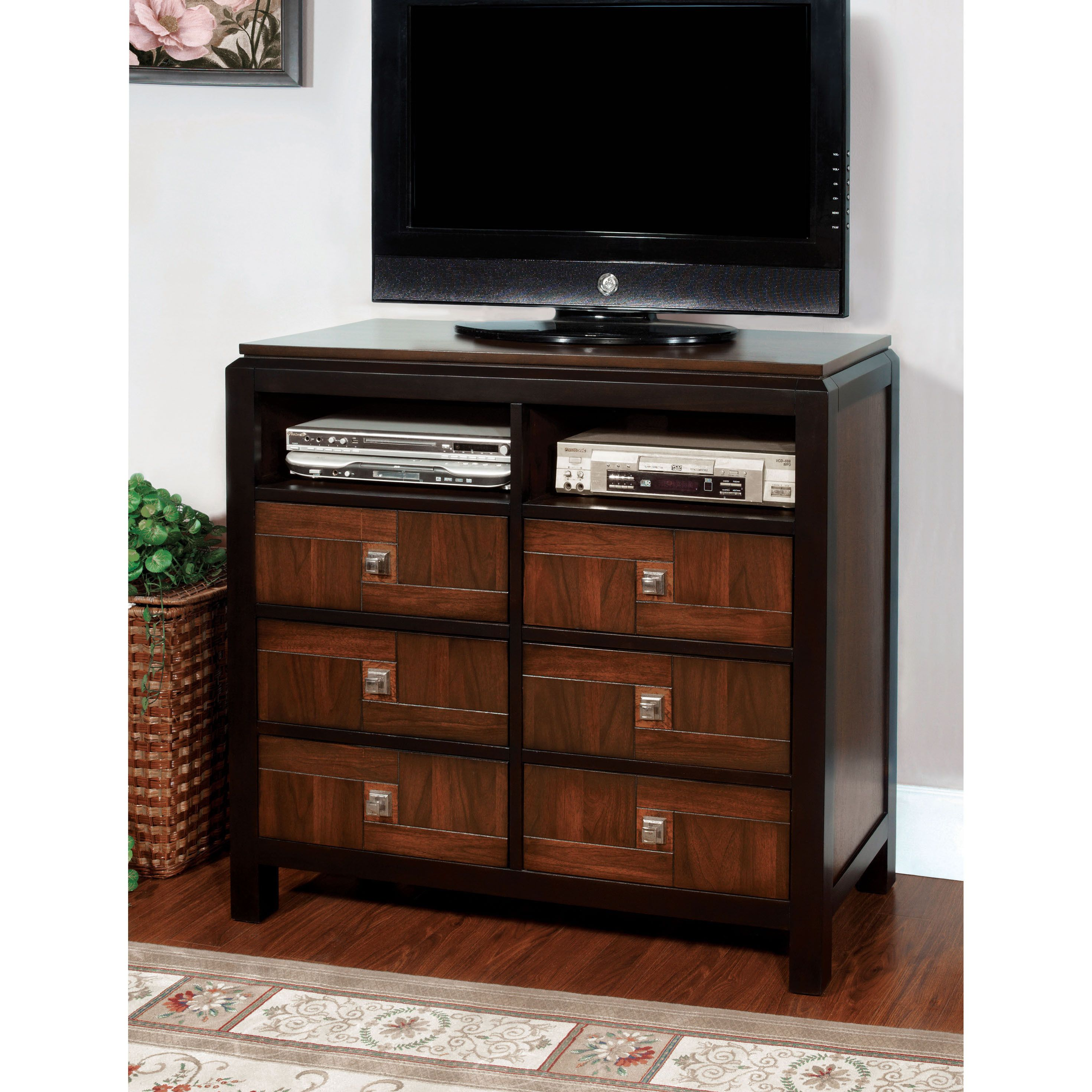 Furniture Of America Anteia Acacia And Walnut Media Chest Products