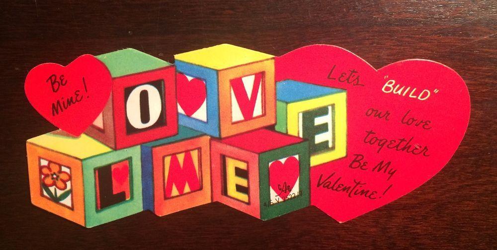 Building Blocks Love Me Lets Build Our Love Unused Vintage
