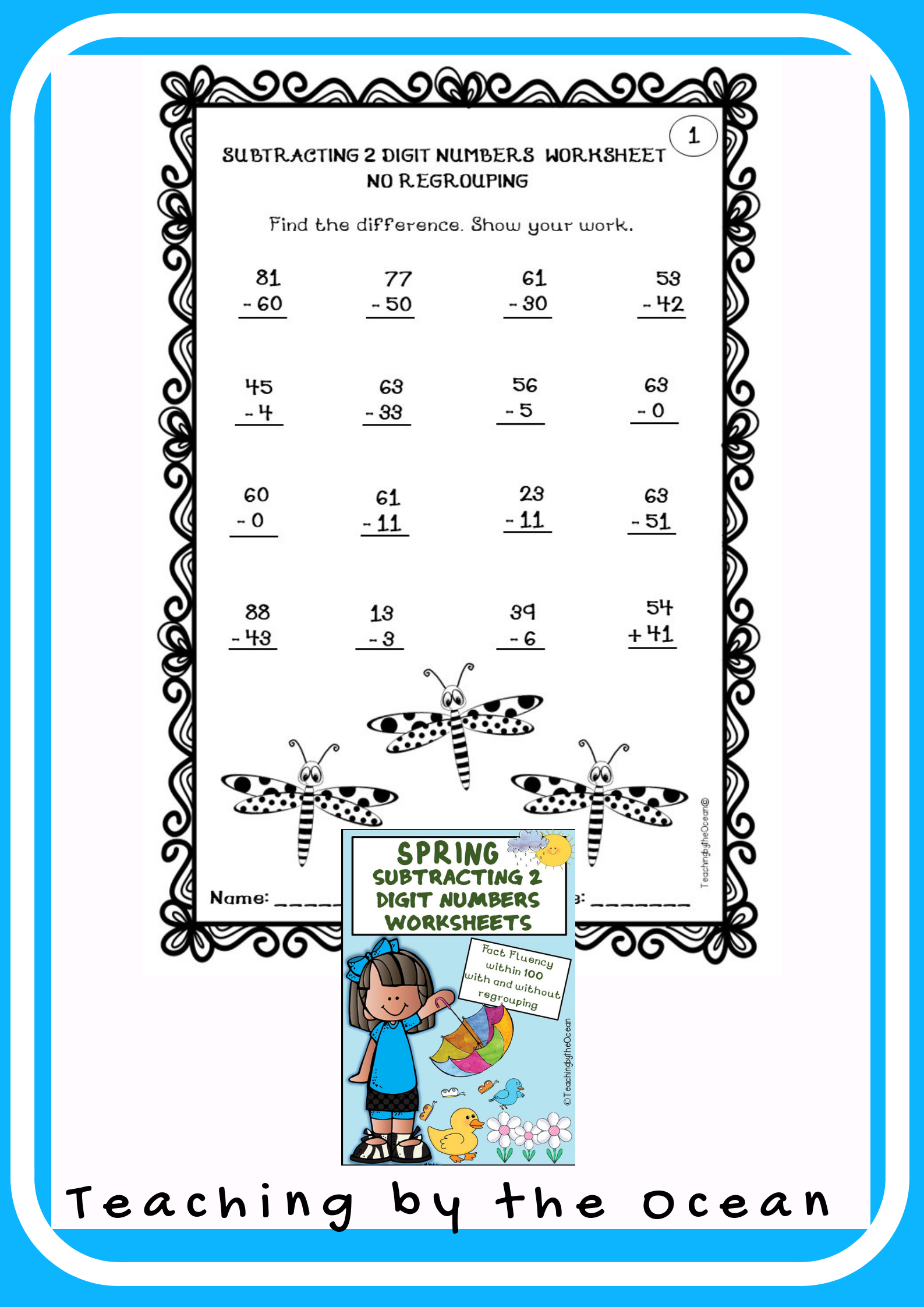 Subtracting 2 Digit Numbers Worksheets Spring Themed