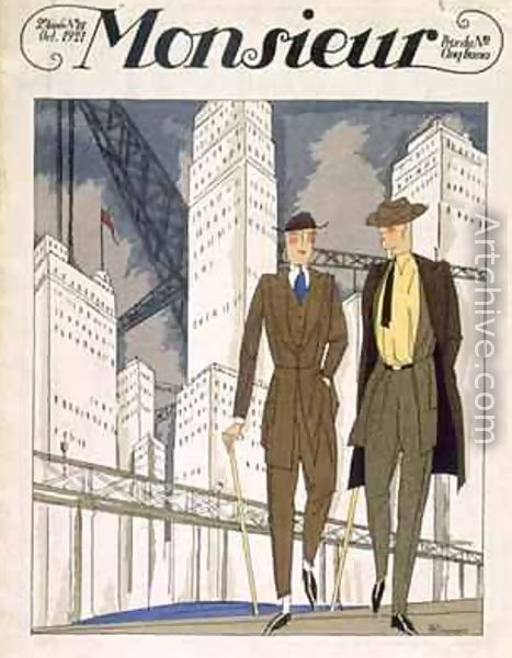Two Strolling Gentlemen front cover issue 22 Monsieur magazine reproduction by Pierre Mourgue
