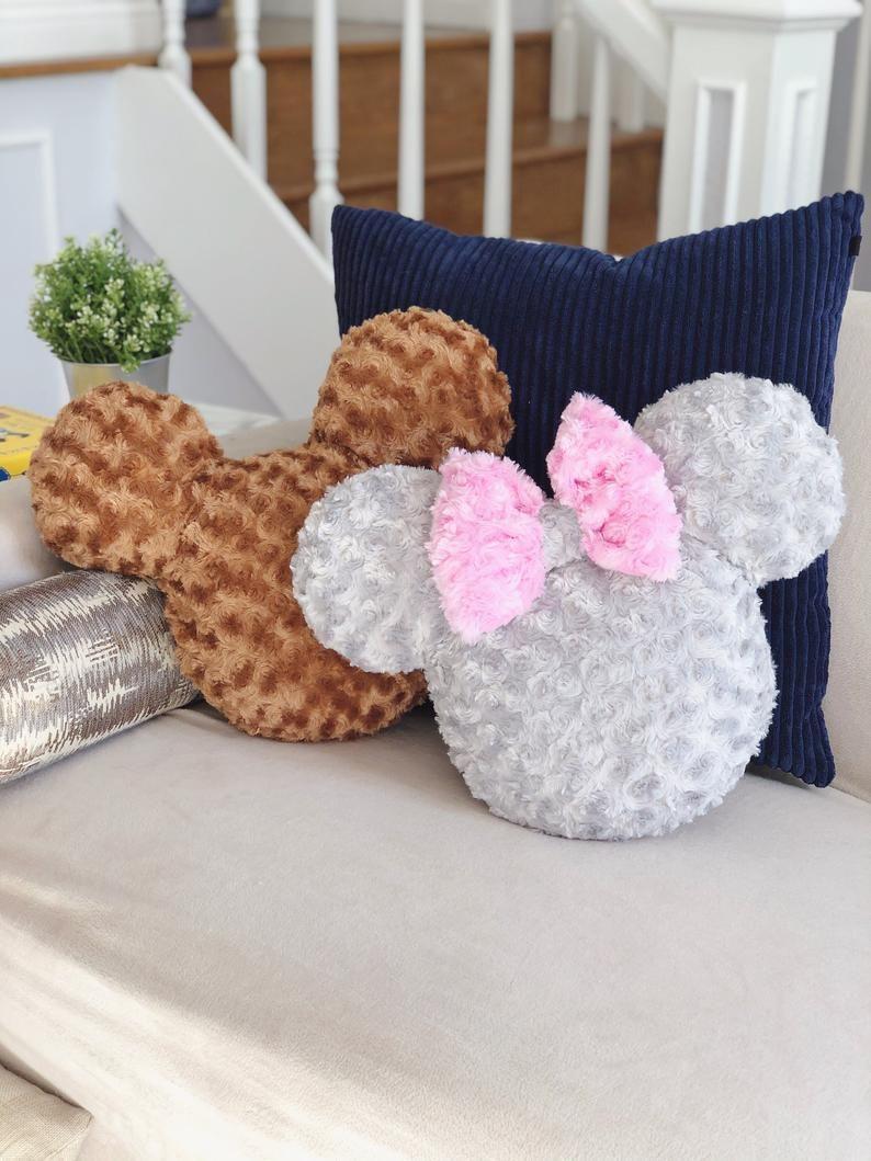 Soft Mickey Plush Pillow Cushion/ Fluffy Disney Accent Home Decor / Farmhouse Home/ Modern Living Room Magical Whimsical Minimalist Nursery